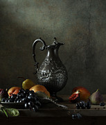 Pewter Jug Prints - Still Life with a jug and a snake Print by Diana Amelina