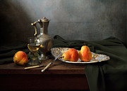 Still Life With Pears Posters - Still Life with a jug and Roamer and pears Poster by Helen Tatulyan