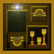 Goblet Digital Art Framed Prints - Still-Life with a  light - 168 Framed Print by Irmgard Schoendorf Welch