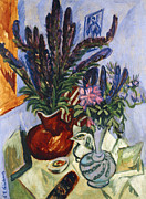"""indoor"" Still Life  Painting Framed Prints - Still Life with a Vase of Flowers Framed Print by Ernst Ludwig Kirchner"