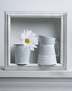 Daisies Pyrography Framed Prints - Still life with a wooden box Framed Print by Krasimir Tolev
