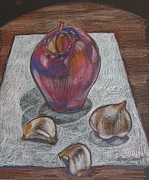 Apples Drawings Posters - Still life with Apple and Garlic Poster by Renee Lucie Benoit