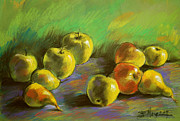Peaches Pastels Posters - Still Life With Apples And Pears Poster by EMONA Art