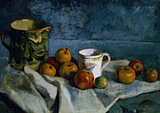 Pitcher Painting Prints - Still Life with Apples Cup and Pitcher Print by Paul Cezanne