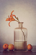 Glass Still Life Posters - Still life with apricots Poster by Diana Kraleva