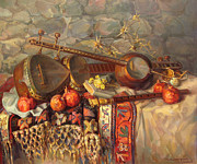 Armenian Paintings - Still-life with Armenian musical instruments duduk thar and qyamancha by Meruzhan Khachatryan