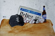 White Sox Paintings - Still life with Autograph Baseballs by Raymond Perez