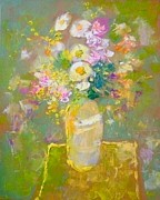 Demeter Gui Art - Still life with autumn flowers by Demeter Gui