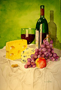 Wine Bottle Paintings - Still Life With Bleu Cheese by Sandra Stone