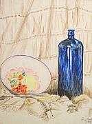 Still-life With Blue Bottle Print by Alan Hogan