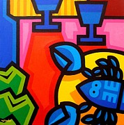 Wine Glasses Paintings - Still Life With Blue Lobster by John  Nolan