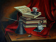 Watches Painting Posters - Still life with books Poster by Nelly Baksht
