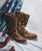 Patriotic Paintings - Still Life with Boots and American Flag by Robert Dale Williams