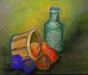 Basket Pastels Posters - Still Life with Bottle and Pears Poster by Carla Stein
