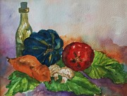 Lettuce Painting Framed Prints - Still Life with Bottle Framed Print by Ellen Levinson