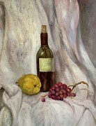 Wine Bottle Paintings - Still life with bottle by Irene Pomirchy
