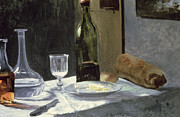 Wine-glass Paintings - Still Life with Bottles by Claude Monet