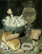 Georg Framed Prints - Still Life with Bread and Confectionery Framed Print by Georg Flegel