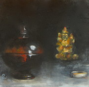 Backlit Painting Framed Prints - still life with Buddah and ring Framed Print by Timi Johnson