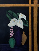 Jugs Painting Prints - Still Life with Calla Lilies Print by Barbara Griffin