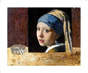 Girl With A Pearl Earring Paintings - Still life with copy of Vermeer by Liubov Meshulam Lemkovitch