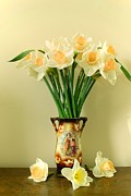 Flower Still Life Prints Prints - Still life with daffodils Print by Vickie Adams