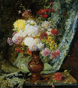 Still-life With Flowers Posters - Still Life With Daises In Japanese Vase Poster by Olaf Hermansen