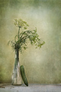 Glass Vase Framed Prints - Still life with Dill and a cucumber Framed Print by Priska Wettstein