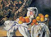Wooden Bowl Framed Prints - Still life with drapery Framed Print by Paul Cezanne