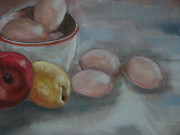 Eggs Pastels Posters - Still-life with eggs Poster by Iris Nazario Dziadul