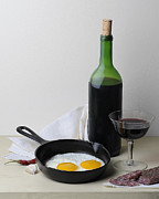 Wine Bottle Images Posters - Still Life with Eggs Poster by Krasimir Tolev