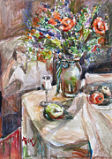 Still Life With Figural Background Print by Becky Kim