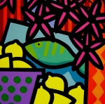 Square Acrylic Canvas Art - Still Life With fish by John  Nolan
