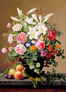 Peonies Paintings - Still Life with Flowers and Fruit by V Hoier
