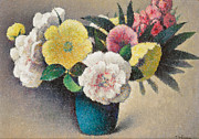Multi Colored Painting Framed Prints - Still Life with Flowers Framed Print by Felix Elie Tobeen