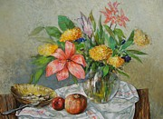 Table Cloth Paintings - Still life with flowers by Grigor Malinov