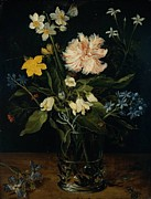 Still-life With Flowers Posters - Still Life With Flowers In a Glass Poster by Jan Brueghel