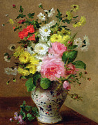 Vase Paintings - Still life with flowers in a vase by Louise Darru
