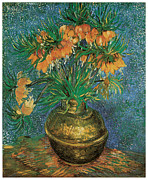 Still-life With Flowers Posters - Still Life with fritillarias Poster by Vincent Van Gogh