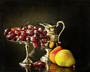 Silver Pitcher Posters - Still Life With Fruit Poster by Theresa Tahara