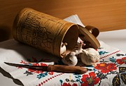 Spice Box Photos - Still life with garlic a knife a towel and tuesok by Roman Popov