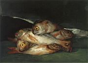 Still Life With Golden Bream Print by Francisco De Goya