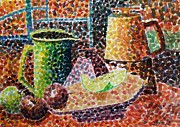 Still Life With Green Jug Painting Print by Caroline Street