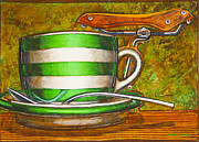 Still Life With Green Stripes And Saddle  Print by Mark Howard Jones