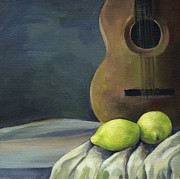 Playing Painting Originals - Still Life with Guitar by Natasha Denger