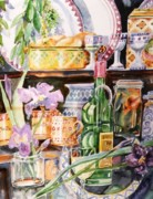 Still Life With Irises Print by Trudi Doyle