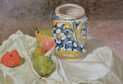 Oil Paint Framed Prints - Still life with Italian earthenware jar Framed Print by Paul Cezanne