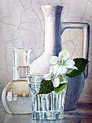 Glass Wall Painting Posters - Still Life With Jasmine Poster by Irina Sztukowski