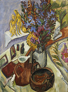 Interior Still Life Painting Metal Prints - Still Life with Jug and African Bowl Metal Print by Ernst Ludwig Kirchner