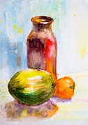 Old Objects Paintings - Still Life with Jug and fruit by Regina Jershova
